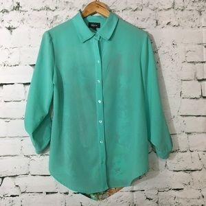 Tops - Open back aqua and floral button up blouse
